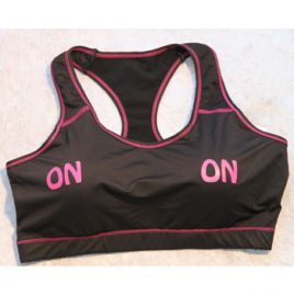 Sports bra with inlay – black with pink print