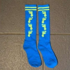 Socks turquoise with neon yellow feet