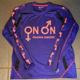 Female long sleeves running shirt purple blue with neon red printing