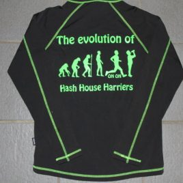 Men long sleeved performance top with neon green printing