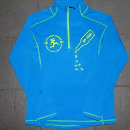 Men long sleeved performance top with neon yellow printing