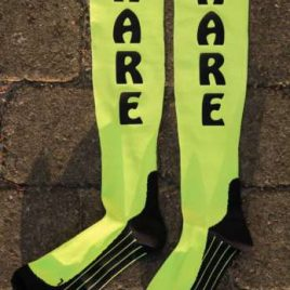 Compression socks neon yellow –  customized text possible