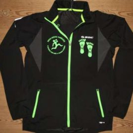Windbreaker unisex – Black with neon green decoration , zips and print