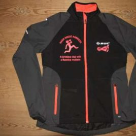 Woman  – Windbreaker Black with neon red decoration , zips and print