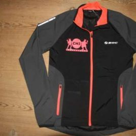 Woman  – Windbreaker Black with neon red decoration , zips and print (Copy)