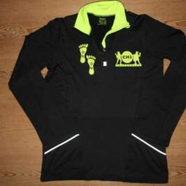 Mens performance top. Black with neon yellow print and details