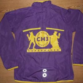 Lady windbreaker in light purple with yellow print and yellow zip