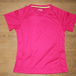 Female Active Dry T-shirt Neon Pink with neon green neck stribe