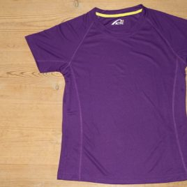 Female Active Dry T-shirt Purple with yellow neck stribe