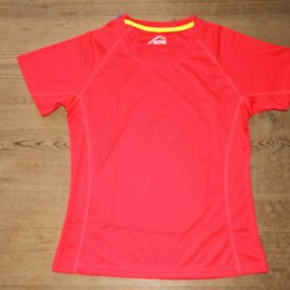 Female Active Dry T-shirt Orange-red with yellow neck stribe
