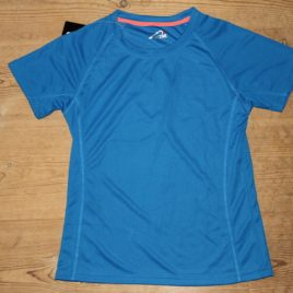 Female Active Dry T-shirt blue with orange neck stribe