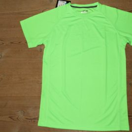 Men Active Dry T-shirt Neon green with black neck stribe