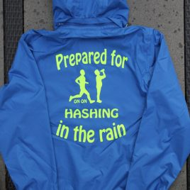 Mens Bacecamp blue raincoat with hash name