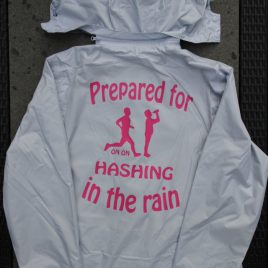 Womens Bacecamp grey functional rainwear with hash name