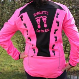 Harriettes running and biking jacket – pink line